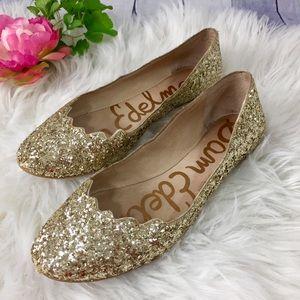 Sam Edelman Alaine gold glitter ballet flat shoe